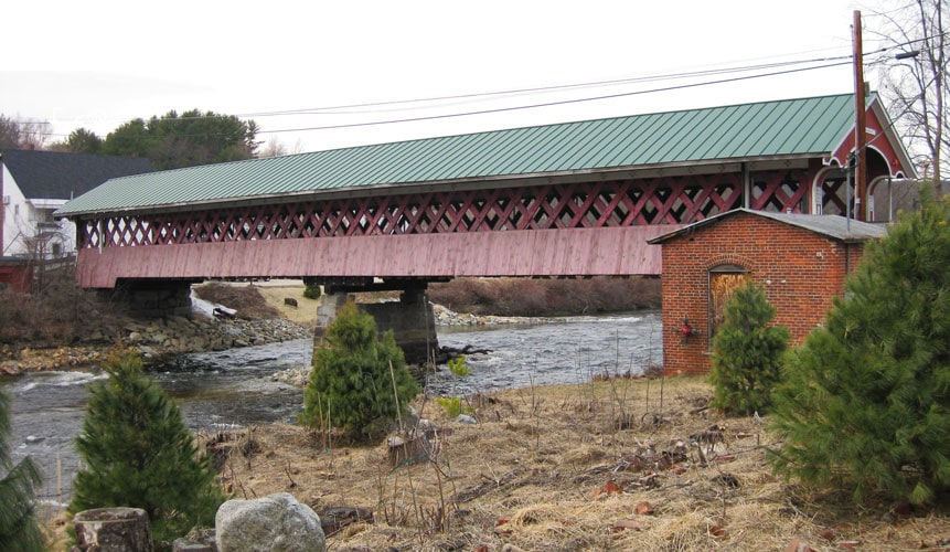 Thompson Covered Bridges, viewed from the bank of the Ashuelot River