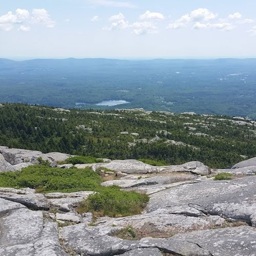 Panoramic view from the top of Mount Monadnock with trees and a lake visible in the distance