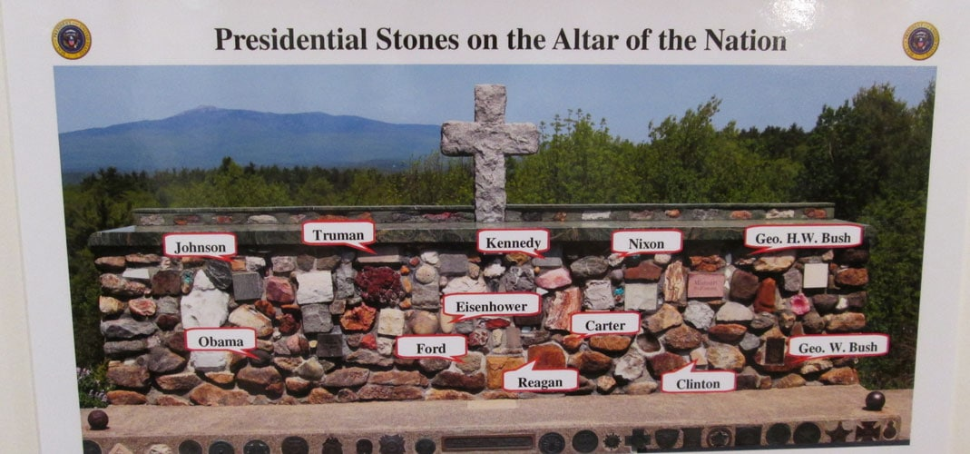 Presidential Stones on the Altar of the Nation at the Cathedral of the Pines