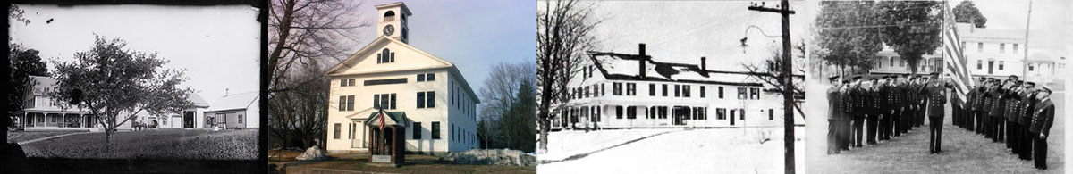 1. Whitcomb House, perhaps late 1800s (photo courtesy of Laurie Ray Paquin); 2. Whitcomb Hall; 3. Whitcomb House, perhaps early 1900s; 4. Whitcomb House, men in uniform with flag, taken from Whitcomb Hall, probably early to mid 1900s