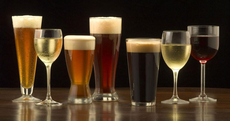 Several glasses of beer and wine