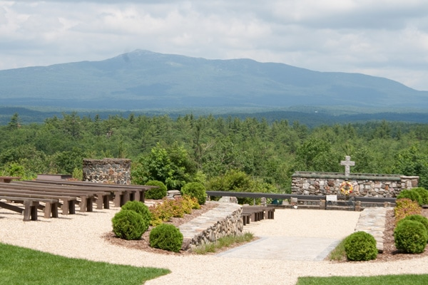 Cathedral of the Pines, outdoors with Mt. Monadnock in the background